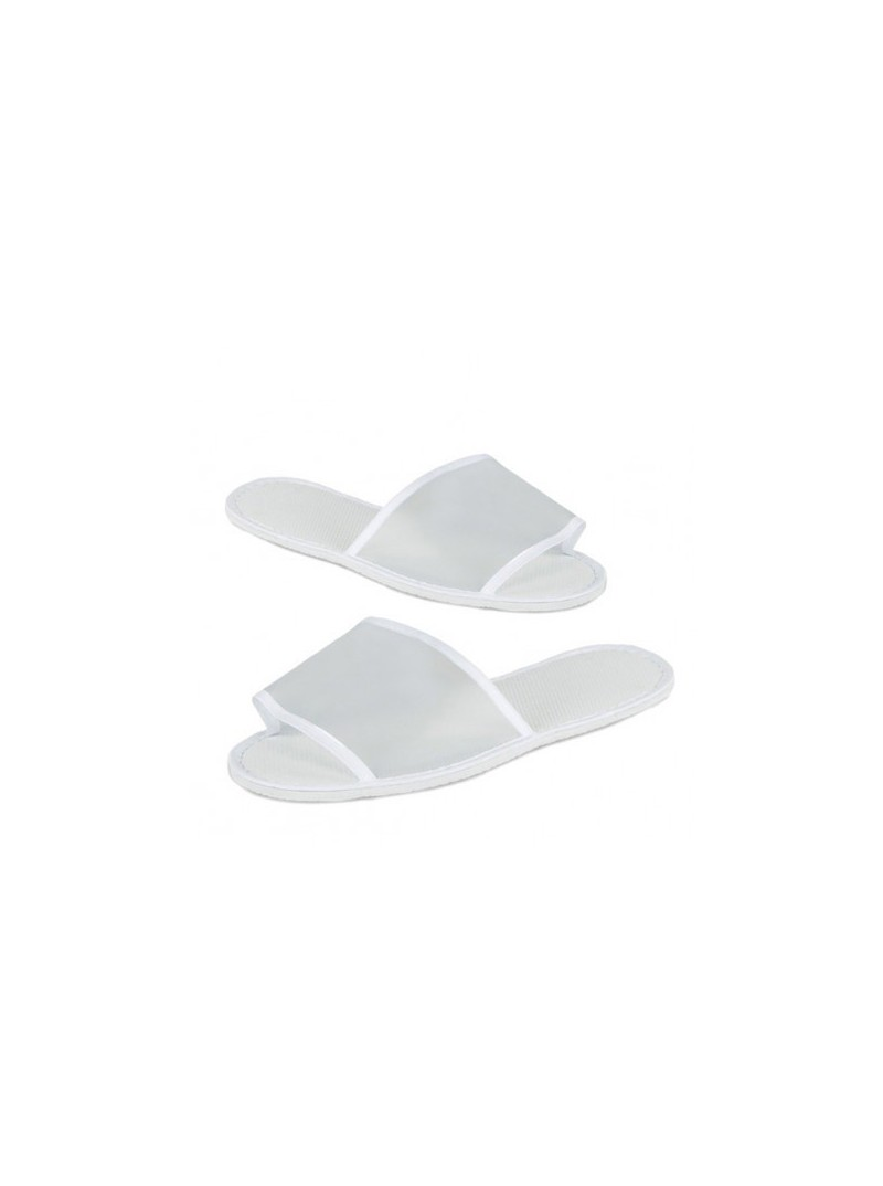 Open Toe disposable PVC Adult Spa Slippers - White