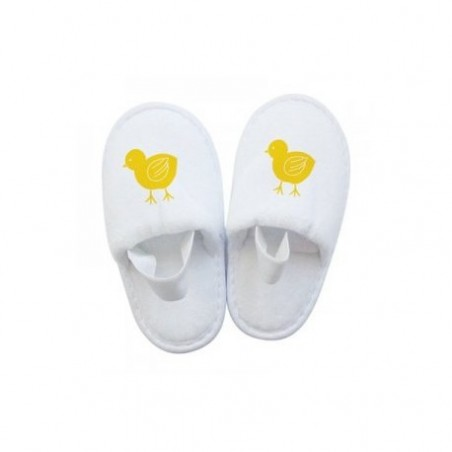 Cheap Kids Slippers, White Terry Cloth Closed Toe Spa Slippers with a rubber band