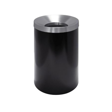Gettacarta tondo in metallo laccato nero, coperchio autoestinguente in acciaio inox satinato; mis.:  diam. 25 x h 37 cm.