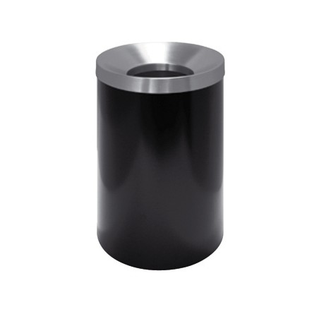 Round waste paper bin in black lacquered metal, self-extinguishing cover in satin stainless steel; meas .: diam. 25 x h 37 cm.