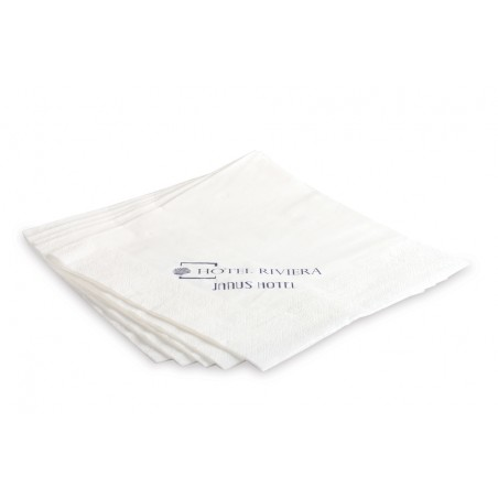 Napkin in 2-ply white cellulose wadding, folded in 4, personalized with 1 color. Dim .: l 40 x h 40 cm.