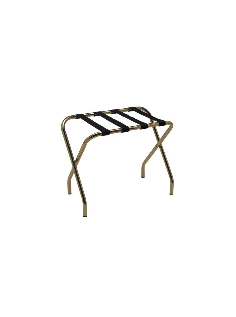Reggivaligia senza sponda, pieghevole, in acciaio lucido,striscie in PVC nero: mis.:68x43x h52 cm., (tubo tondo)