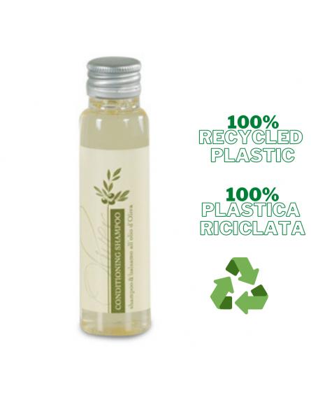 LINEA OLIVER Flacone in plastica riciclata 100% 35ml, shampoo-balsamo giallo chiaro con estratti all'olio d'oliva