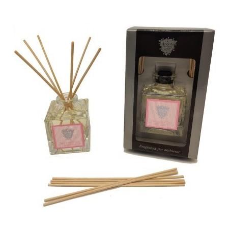 Diffusore di fragranze a midollino in confezione regalo nera con finestra trasparente