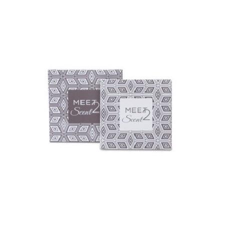 Sapone 20g quadrato fragranza BERGAMOTTO e CANNELLA in astuccio di carta con stampa a 2 colori per hotel e B&B Meet2Scent