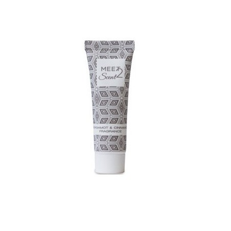 MEET 2 SCENT Body Lotion with bergamot & cinnamon extracts, made in Italy, in 30ml squeeze tube with MEET2SCENT design.