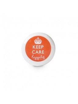 Vegetable soap 25g round film, print on an orange label, glossy finish, PERA fragrance.