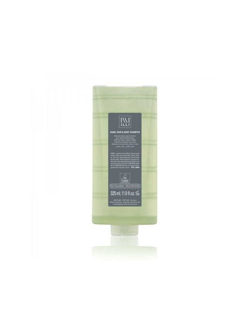 325 ml refill of colorless transparent Hair-Body-Hands product with Ecolabel certification, for ILLI 1 dispenser.