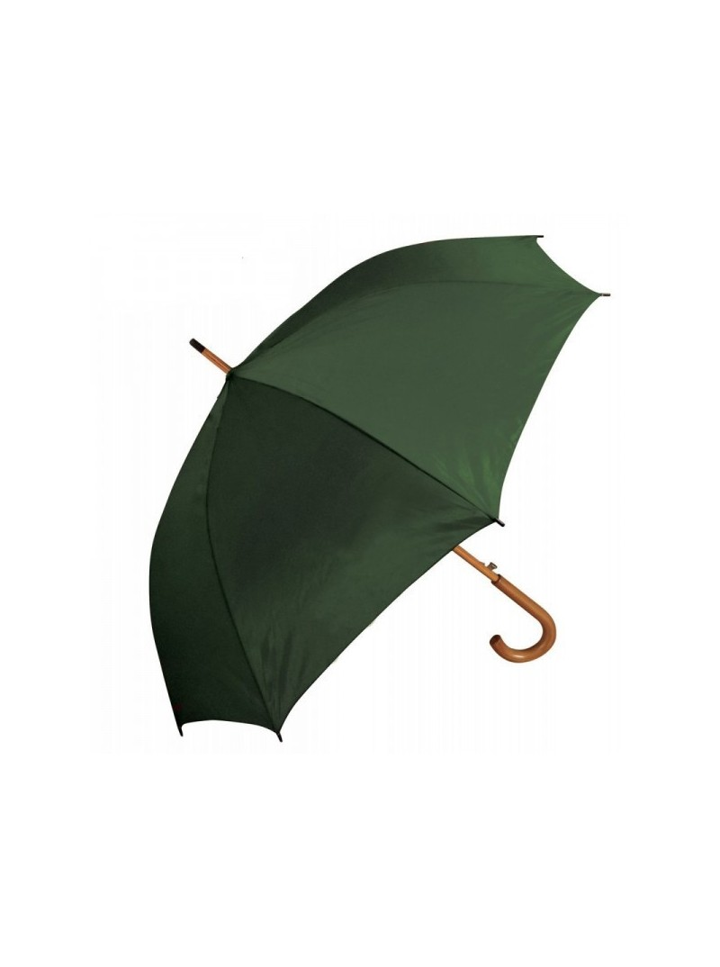 Umbrella 8 segments with wooden handle and shaft, windproof fiber frame. Automatic opening. Neutral. Dim .: Ø 100 cm, h 89 cm.