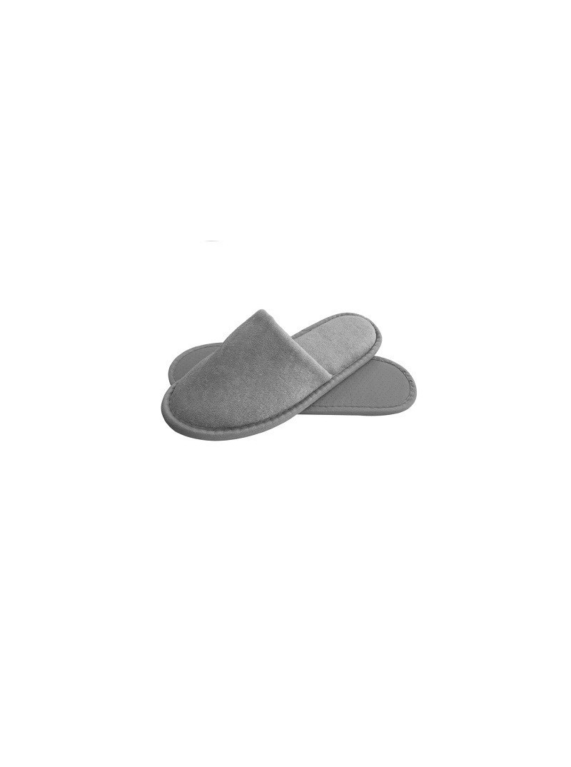 Luxury Closed Toe Terry Cloth Adult Spa Slippers - Grey shipped from Italy