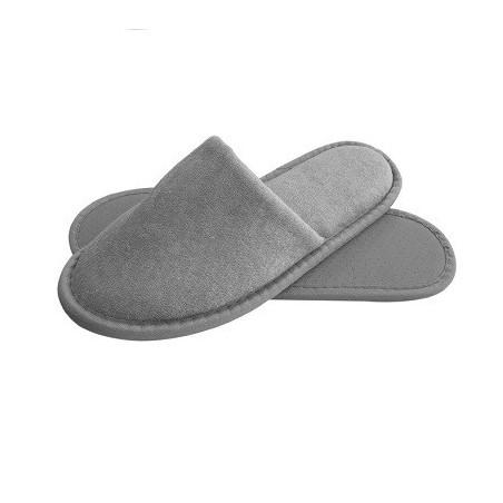 pantofole lussuose per hotel in spugna grigia imbottita e suola con rinforzo modello Stephy