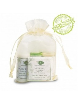 Made in Italy natural Green tea hotel toiletries kit in an organza bag for guests