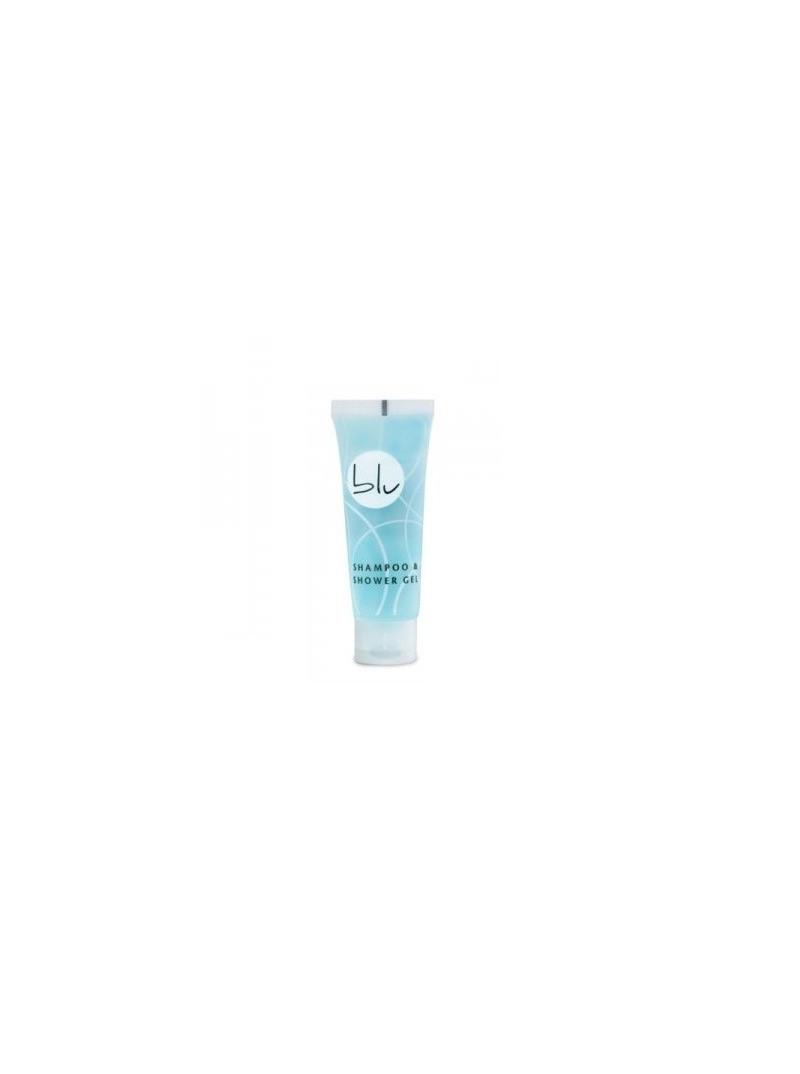 Tubetto shampoodoccia per hotel e B&B con fantasia blu e bianco e fragranza brezza marina.