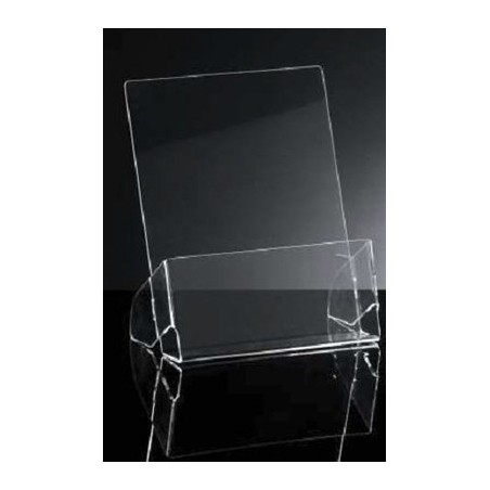 Brochure holder pocket, Counter brochure holder, in transparent methacrylate, A4 format (22XH27cm)