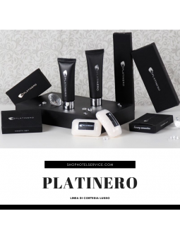 Luxury hotel amenities cosmetic with sundry items in black paper box PLATINERO