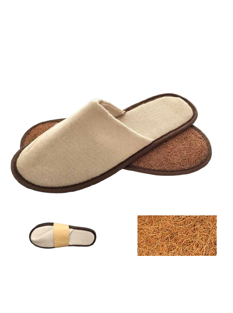100% plant origin slippers for hotels and SPAs. Made with linen and a palm sole this slipper is biodegradable.