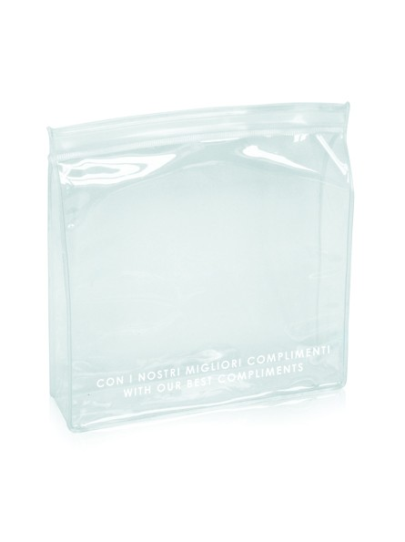 Empty pouch in transparent PVC, with slider closure.