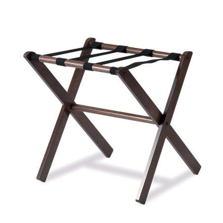 Walnut colored wooden luggage rack without side, black PVC strips: size: 48x48xh50 / 58 cm.