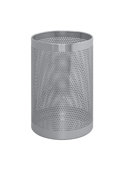 Round waste paper bin in perforated stainless steel; mis.:20 x h 33 cm for hotel and offices
